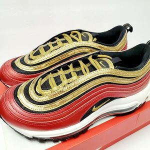 NIKE AIR MAX 97 Red Metallic Gold Sequin Sneakers